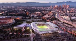 LAFC's new stadium and the surrounding area.