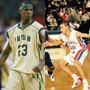 Lebron James (left) at St. Vincent-St. Mary High School and Steph Curry (right) at Charlotte Christian High School.