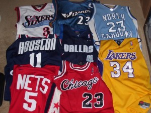 Nike has produced replica NBA jerseys through their Swingman brand line and produced official NBA jerseys in the 1990s.