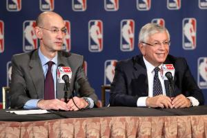 Adam Silver (left), the NBA's current commissioner, and David Stern (right), the NBA's former commissioner, have two different views on the league's jerseys.
