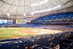 Tropicana Field, home of the Tampa Bay Rays, is often very empty for most Rays home games.