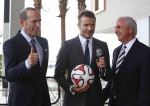 Pictured above is Don Garber (left), Commissioner of Major League Soccer, David Beckham, and Miami Dade County Mayor Carlos Gimenez (right) at a February 2014 media event.