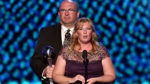 Brent & Lisa Hill, parents of Lauren Hill, accept the award for Best Moment. Lauren was a Division III women's college basketball player who died of brain cancer but was able to play in Mount St. Joseph's opening game and help raise $1.5 million towards cancer research.