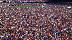 Thousands of fans gathered in Chicago's Soldiers Field on July 1, 2014 to watch the US take on Belguim in the World Cup, which at the time was the most watched soccer match ever on ESPN.